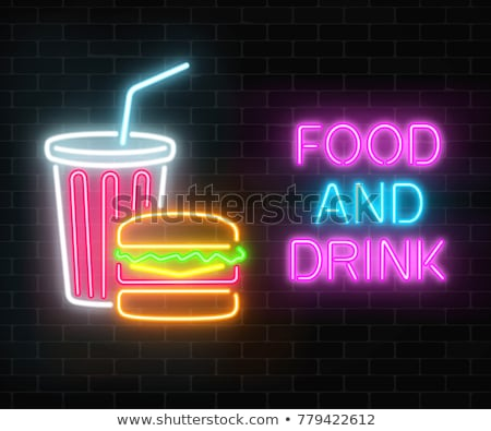 glowing neon signboard fast food and drink vector illustration Stock photo © konturvid