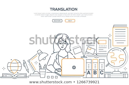 translation   modern line design style web banner stock photo © decorwithme