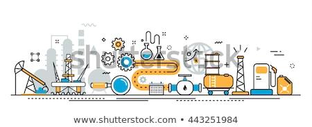 Stock fotó: Olajipar · szalag · infografika · ikonok · gyártás · közlekedés