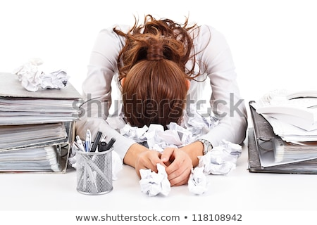 Foto d'archivio: Despaired Woman Overloaded With Work