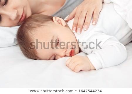 Foto stock: Pacífico · bebê · cama · pai · ou · mãe · quarto · olho