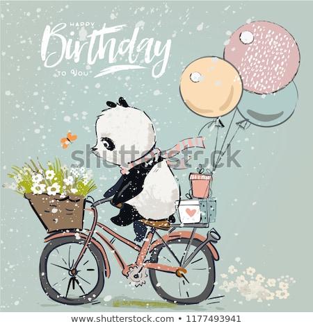 Gelukkige verjaardag panda kaart illustratie verjaardag konijn Stockfoto © bluering