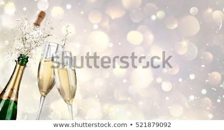 okulary · szampana · butelek · biały · szkła · złota - zdjęcia stock © karandaev