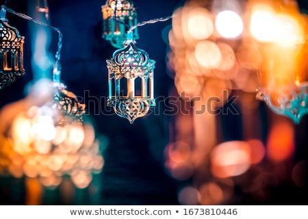 Gyönyörű bokeh akasztás lámpák boldog háttér Stock fotó © SArts