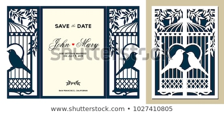 Laser coupé carte de vœux dentelle bord invitation de mariage Photo stock © sanyal