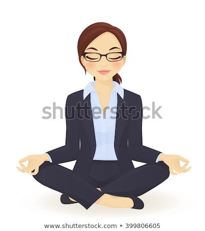 Femme d'affaires séance Lotus poste yoga illustration Photo stock © 3dmask