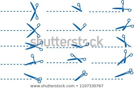 Blue Scissors for cuttifng illustration set Stock photo © Blue_daemon
