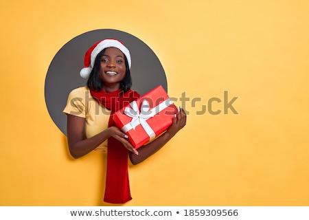 csinos · nő · mikulás · kalap · magasra · tart · bevásárlótáskák · fehér - stock fotó © dolgachov