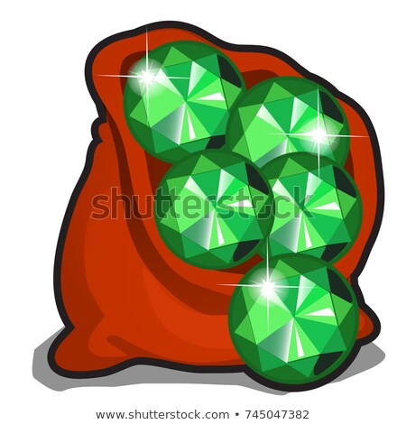 ストックフォト: Red Bag With Emeralds Isolated On White Background Vector Cartoon Close Up Illustration
