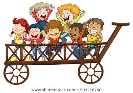 Children playing on giant wagon Stock photo © colematt