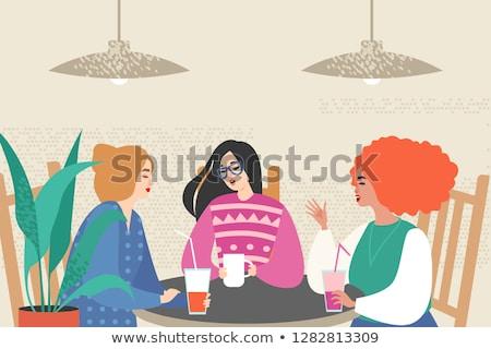 Amigos potable café jugo hablar ciudad Foto stock © dolgachov