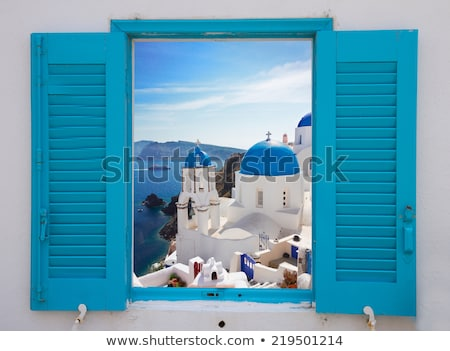 window with view of caldera and church, Santorini Foto stock © neirfy