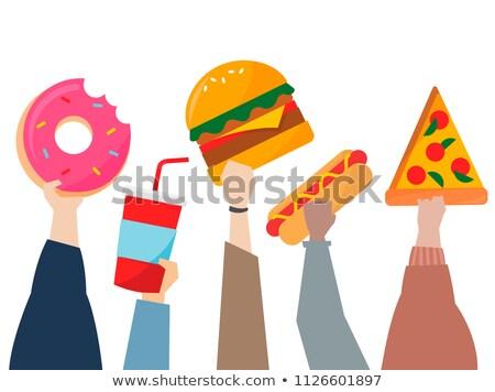Cartoon hot dog handen illustratie hond brood Stockfoto © bennerdesign