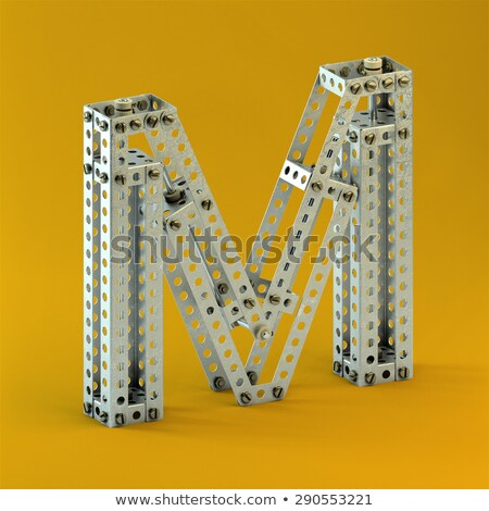rusty metal font letter m 3d stock photo © djmilic