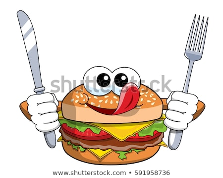 hungry hamburger cartoon character with knife and fork stock photo © hittoon