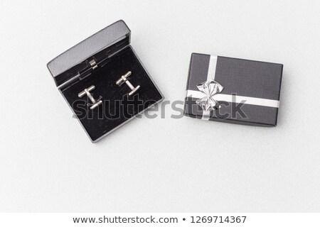 nyakkendő · mandzsetta · linkek · fehér · fém · öltöny - stock fotó © melnyk