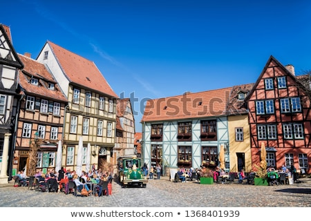 the street with half timbered houses in quedlinburg germany stock photo © borisb17
