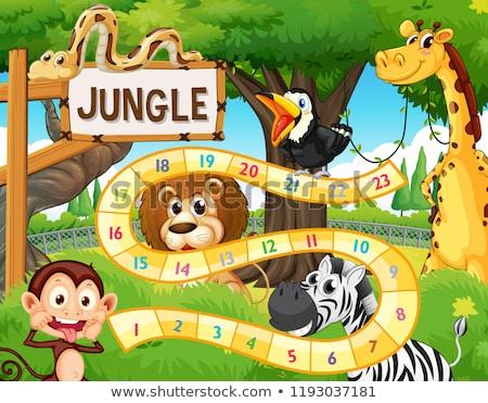 Dzikie zwierzęta dżungli gry szablon ilustracja tle Zdjęcia stock © colematt