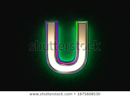 black outline font letter u 3d stock photo © djmilic