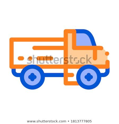 Camión de reparto vector delgado línea icono Foto stock © pikepicture