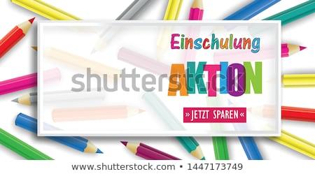 Színes ceruzák keret fejléc szöveg vissza az iskolába Stock fotó © limbi007