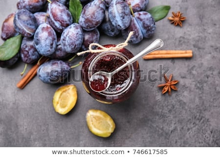 Glass jar of plum jam Stock photo © Alex9500