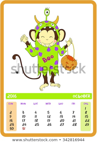 Stockfoto: Cartoon Cute Doodles Happy Halloween Illustration Outline Funny Round Picture