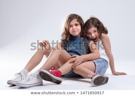 Szeretetteljes fiatal nővérek padló kettő együtt Stock fotó © Giulio_Fornasar