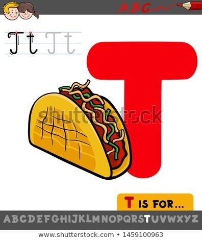 T betű oktatási taco rajz illusztráció ábécé Stock fotó © izakowski