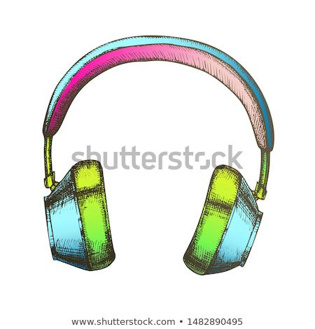 Stockfoto: Melomane Accessory Wireless Headphones Ink Vector