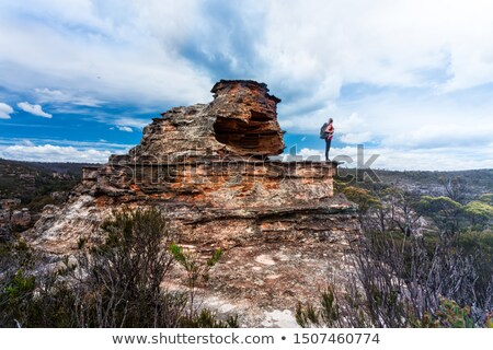 Female explorer standing on top of pagoda with cave and balcony Stock photo © lovleah