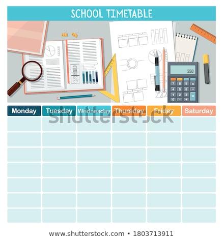 Foto stock: Alunos · escritório · de · volta · à · escola · tempo · vetor · cartas