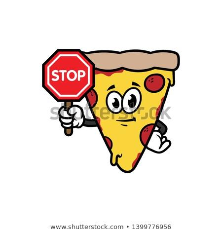 トマト 漫画のマスコット 文字 一時停止の標識 ストックフォト © hittoon