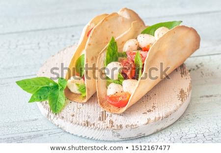 Caprese tacos ahşap masa gıda top sandviç Stok fotoğraf © Alex9500
