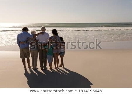 Rückansicht Familie Arme herum stehen Strand Stock foto © wavebreak_media
