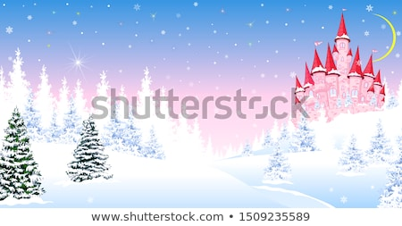 Stock photo: Pink castle winter forest night