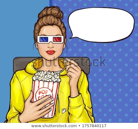 lányok · néz · 3D · mozi · pattogatott · kukorica · család - stock fotó © iko