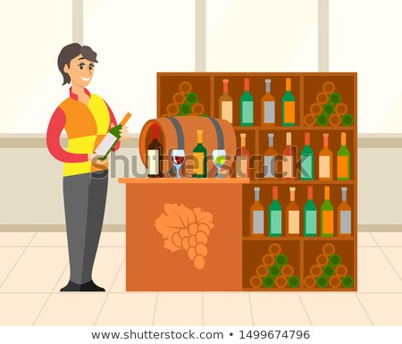 Wine Shop with Huge Collection of Bottles Vector Stock photo © robuart