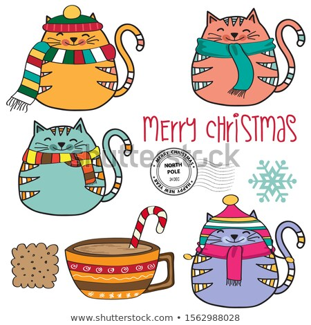cute cozy cats collection and other christmas elements stock photo © balasoiu