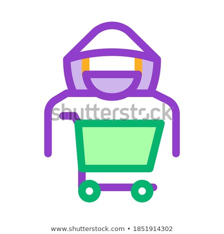 Shopping Cart Thief Icon Vector Outline Illustration Stock photo © pikepicture