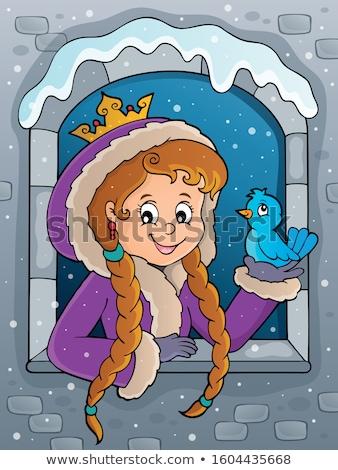 Princess zimą ubrania obraz dziewczyna szczęśliwy Zdjęcia stock © clairev
