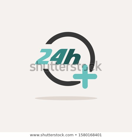 24 hours pharmacy services. Icon with shadow on a beige background. Medicine vector illustration Stock photo © Imaagio