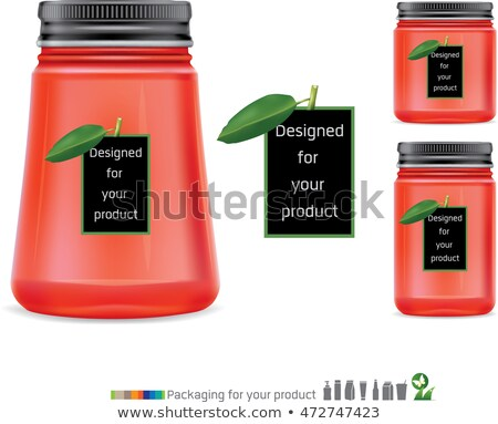 Jar Glass With Green Cap For Storage Sauce Vector Stock photo © pikepicture