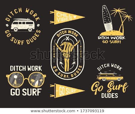 Vintage summer logos, surfing badges set. Hand drawn labels designs. Travel expedition, wanderlust a Stock photo © JeksonGraphics