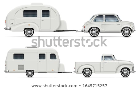 Classic cars with RV camping trailers side view Stock photo © YuriSchmidt