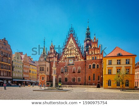 старый город домах Польша Европа синий облачный Сток-фото © kyolshin