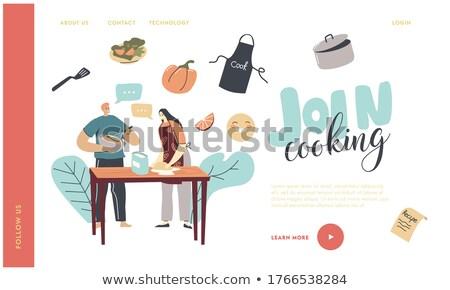 Cozinhar página mulher avental panela vetor Foto stock © robuart