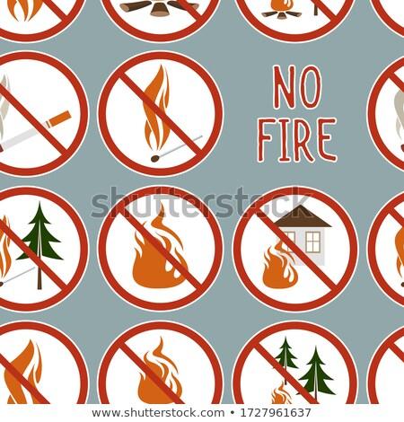 Gyűjtemény nem tűz ikonok minta készít Stock fotó © netkov1