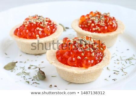 tartalets, butter and salmon caviar Stock photo © tycoon