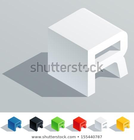 Witte kubus doopvont letter r 3D Stockfoto © djmilic